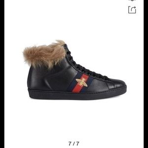 Authentic Gucci Ace High Top Sneakers with wool
